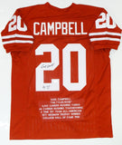 Earl Campbell Autographed Orange College Style Jersey Stat3 With HT- JSA W Auth