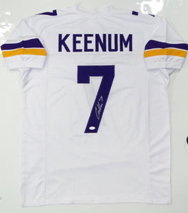 Case Keenum Autographed White Pro Style Jersey - JSA W Auth *S