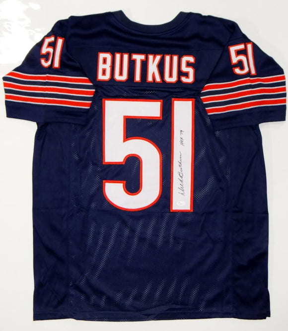 Dick Butkus Autographed Blue Pro Style Jersey With HOF- JSA Authenticated *1