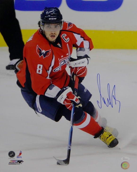 Alexander Ovechkin Signed Capitals 16x20 On Ice Red Jersey Photo- JSA W Auth *Blue
