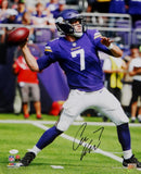 Case Keenum Autographed Vikings 16x20 About to Pass PF Photo- JSA W Auth *Black