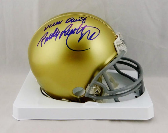 Rudy Ruettiger Signed Notre Dame Riddell Mini Helmet W/ Never Quit- JSA W Auth *Blue