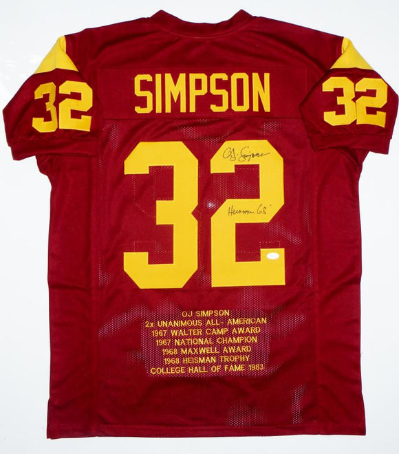 O.J. Simpson Heisman Signed Maroon College Style Stat Jersey - JSA W Auth *2