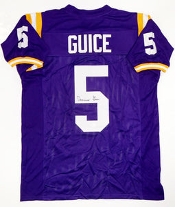 Derrius Guice Autographed Purple College Style Jersey- JSA Witness Auth