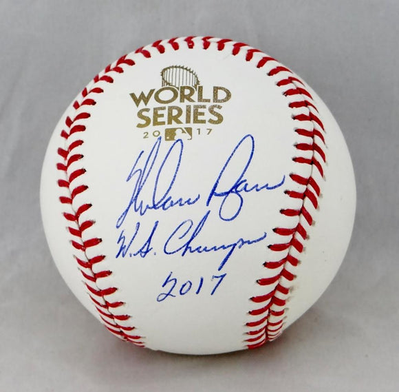 Nolan Ryan Autographed World Series Baseball w/ WS Champs 2017- JSA Auth