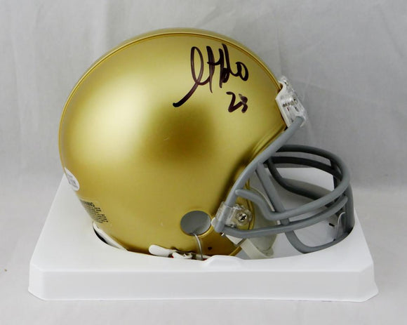 Golden Tate Autographed Notre Dame Riddell Mini Helmet - Beckett W Auth *Black