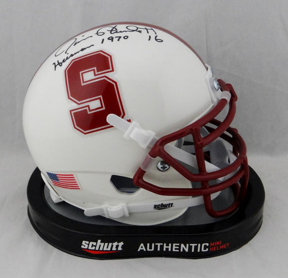 Jim Plunkett Signed Stanford Cardinals Mini Helmet Heisman 1970 JSA W Auth*Top