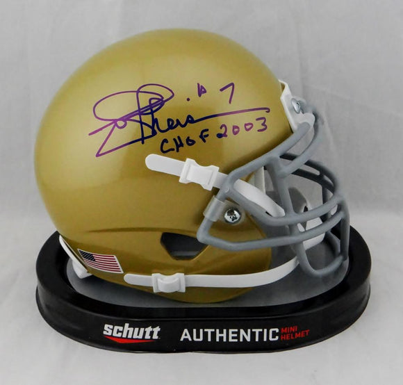 Joe Theismann Signed Notre Dame Mini Helmet w/ CHOF 2003 JSA W Auth *Blue
