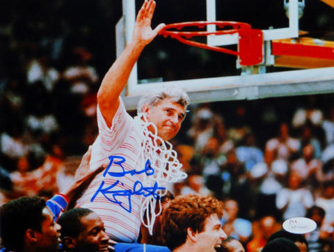 Bob Knight Autographed Indiana 8x10 Photo Cutting Down Net-JSA W Auth *Blue