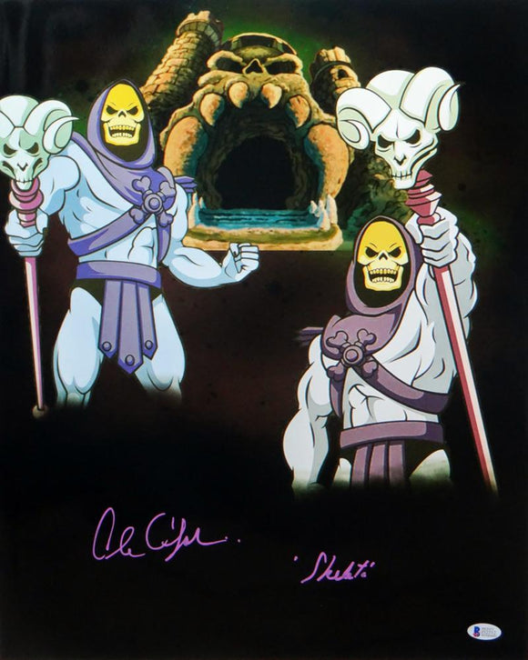 Alan Oppenheimer Autographed Skeletor 16x20 Dual Image Photo- Beckett Auth *Purple