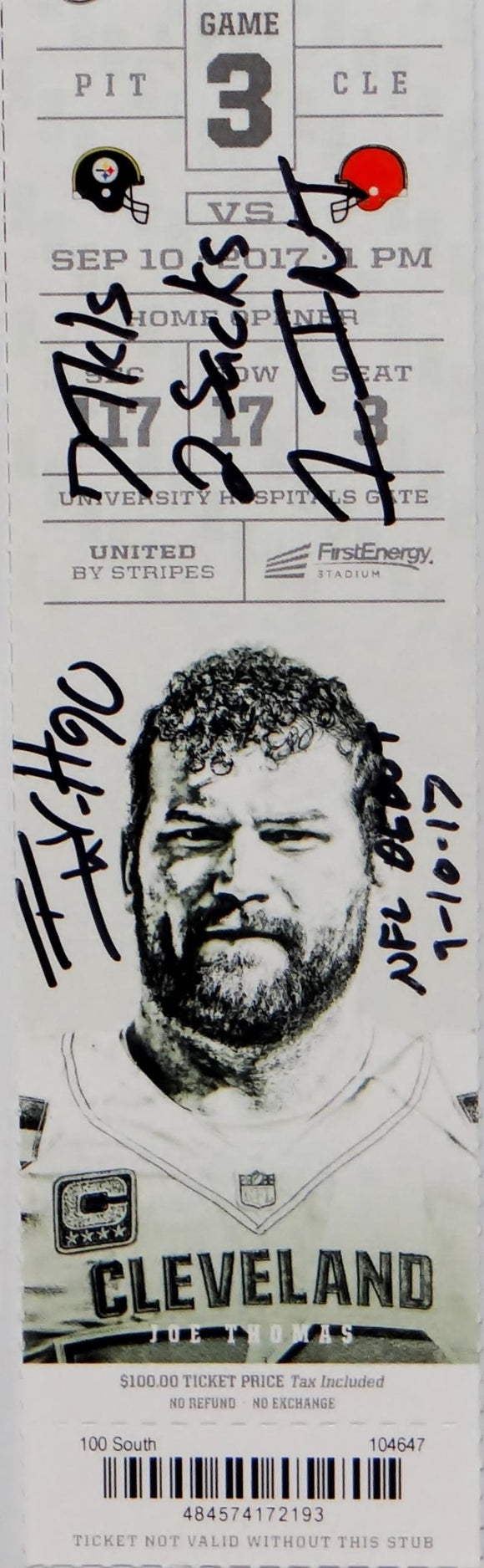 TJ Watt Autographed NFL Debut Game Ticket with 4 Inscriptions- JSA W Auth *Black