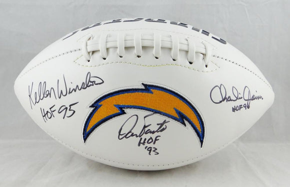 Winslow Fouts Joiner Autographed San Diego Chargers Logo Football W/ HOF- JSA W Auth