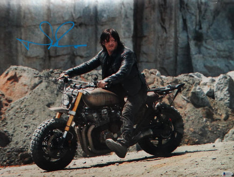 Norman Reedus Autographed Walking Dead 16x20 On Motorcycle Photo- Beckett Auth