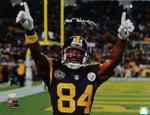 Antonio Brown Autographed Steelers 16x20 Pointing PF Photo- JSA W Auth *White