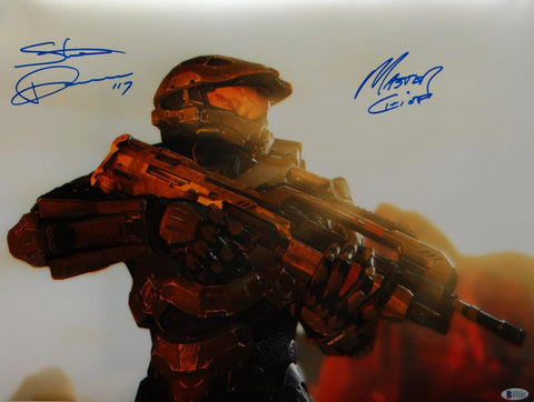 Steve Downes Autographed Halo Master Chief 16x20 Photo- Beckett Auth *Blue