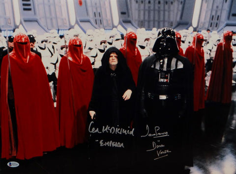 David Prowse/ Ian McDiarmid Signed Star Wars 16x20 Darth Vader & Emperor Photo- Beckett Auth