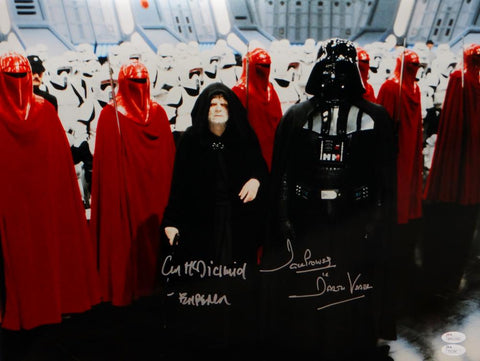 David Prowse/ Ian McDiarmid Signed Star Wars 16x20 Darth Vader & Emperor Photo- JSA Auth