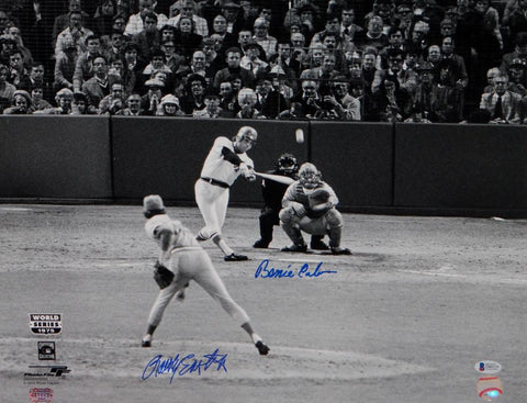 Bernie Carbo Rollie Eastwick Signed 16x20 BW 1975 World Series PF Photo- Beckett Auth
