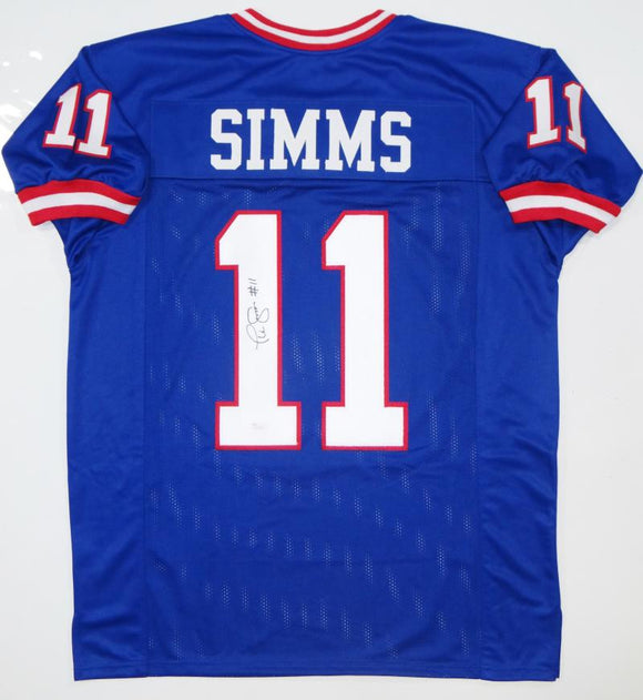 Phil Simms Autographed Blue Pro Style Jersey- JSA Witness Authenticated *L1