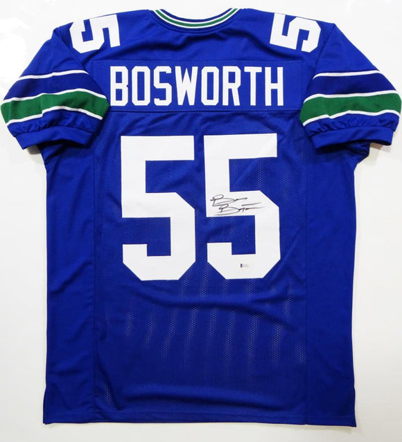 f0f1b5ae196 Brian Bosworth Autographed Blue Pro Style Jersey- Beckett Authenticated *5RM