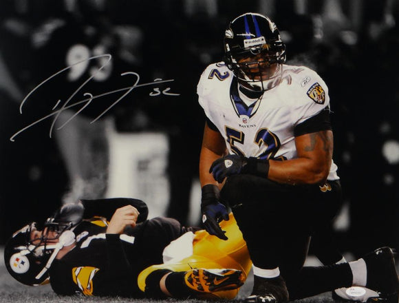 Ray Lewis Autographed Ravens 16x20 Photo Over Roethlisberger- JSA W Auth *Silver