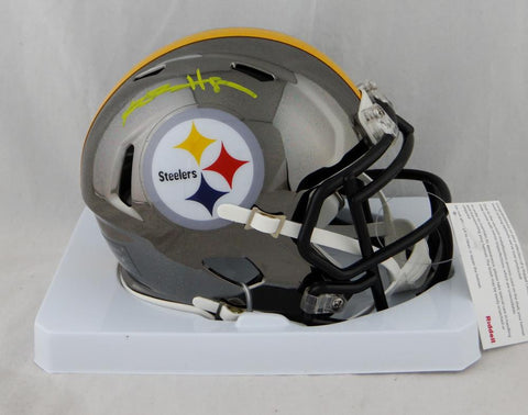 Antonio Brown Autographed Pittsburgh Steelers Chrome Mini Helmet- JSA W Auth *Yellow