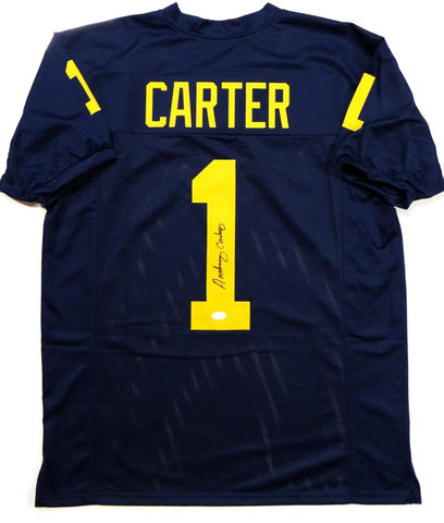 Anthony Carter Autographed Navy College Style Jersey- JSA W Authenticated *1
