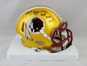 Mark Rypien Autographed Washington Redskins BLAZE Mini Helmet w/ Insc- JSA W Auth *Black