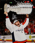 Alexander Ovechkin Autographed Capitals 16x20 Holding Stanley Cup PF Photo- Beckett/Fanatics Auth *White