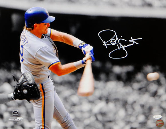 Robin Yount Autographed Milwaukee Brewers 16x20 PF BW & Color Photo- JSA W Auth *White