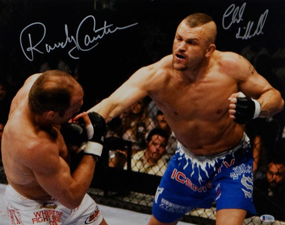 Randy Couture Chuck Liddell Autographed UFC 16x20 In Ring Photo- Beckett Auth *Silver