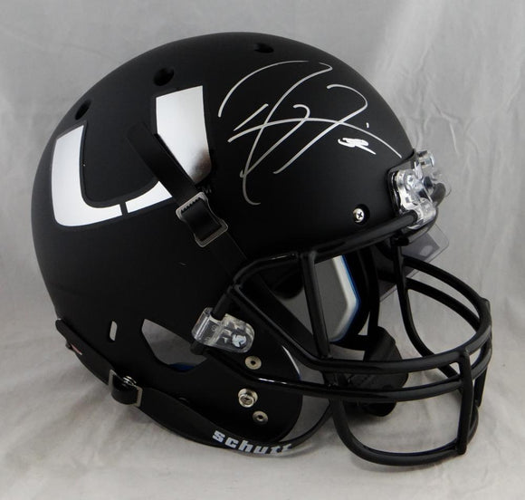 Ray Lewis Autographed Miami Hurricanes Black Schutt F/S Helmet - JSA Auth *Silver
