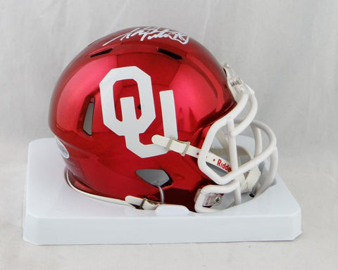 Adrian Peterson Autographed Oklahoma Sooners Chrome Mini Helmet - Beckett Auth *White