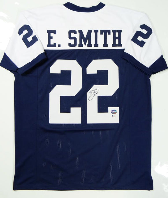 Emmitt Smith Autographed White/Blue Pro Style Jersey- Beckett Authentication *R2