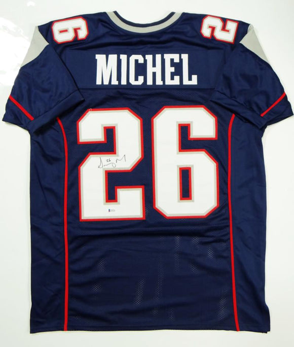Sony Michel Autographed Blue Pro Style Jersey- Beckett Authenticated *2