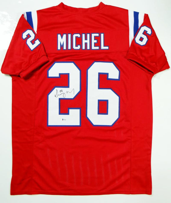 Sony Michel Autographed Red Pro Style Jersey- Beckett Authenticated *2