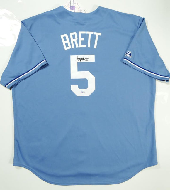 George Brett Autographed Kansas City Royals Majestic Jersey- Beckett Authentication