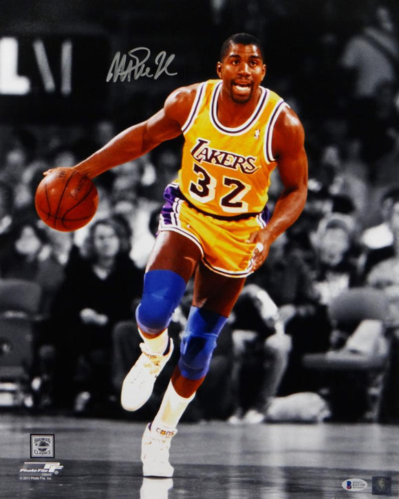 Magic Johnson Autographed Lakers 16x20 PF Photo BW & Color Dribbling- Beckett Auth *Silver