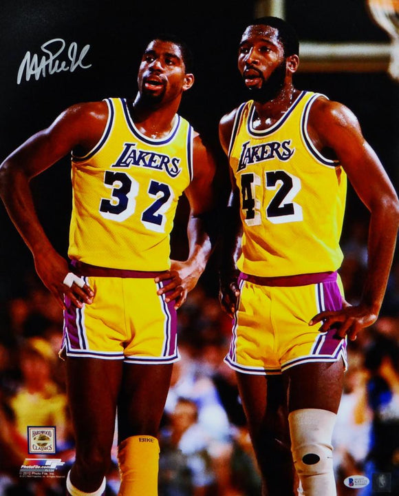Magic Johnson Autographed Lakers 16x20 PF Photo w/ Worthy- Beckett Auth *Silver