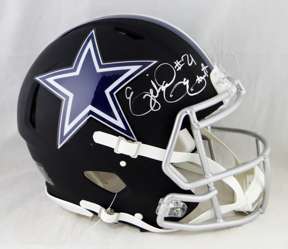 the best attitude bc8d3 1c1fe Ezekiel Elliott Signed Cowboys F/S Flat Black Speed Authentic Helmet-  Beckett Auth *Silver