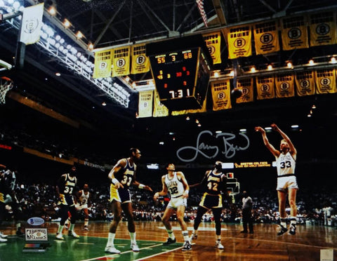Larry Bird Autographed 16x20 Jumpshot Against Lakers PF Photo - Beckett Authentication