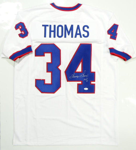 Thurman Thomas Autographed White Pro Style Jersey w/ HOF- JSA W Auth *4