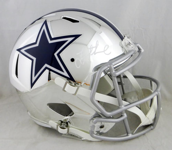 Troy Aikman Autographed Dallas Cowboys F/S Chrome Helmet- Beckett Auth *White