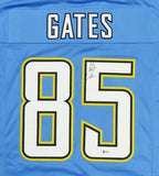 Antonio Gates Autographed Light Blue Pro Style Jersey- Beckett Auth *Black