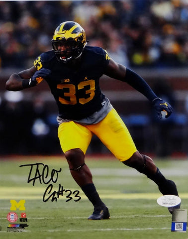 Taco Charlton Autographed Michigan 8x10 PF Close Up Photo - JSA W Auth *Vert