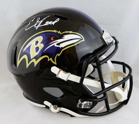 Ed Reed Signed Baltimore Ravens F/S Speed Replica Helmet- Beckett Auth *White