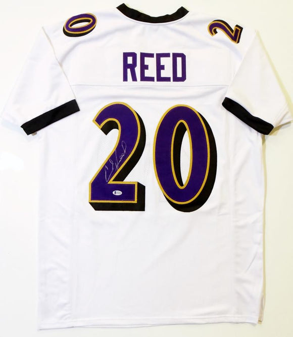 Ed Reed Autographed White Pro Style Jersey - Beckett Auth *2