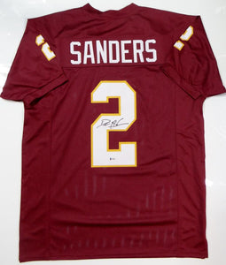 Deion Sanders Autographed Maroon College Style Jersey - Beckett W Authentication *2