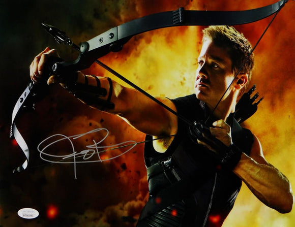 Jeremy Renner Autographed 11x14 Hawkeye Photo Fire Background- JSA W Auth *Silver