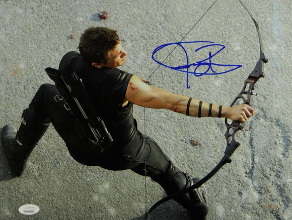 Jeremy Renner Autographed 11x14 Hawkeye Aerial Photo - JSA W Auth *Blue